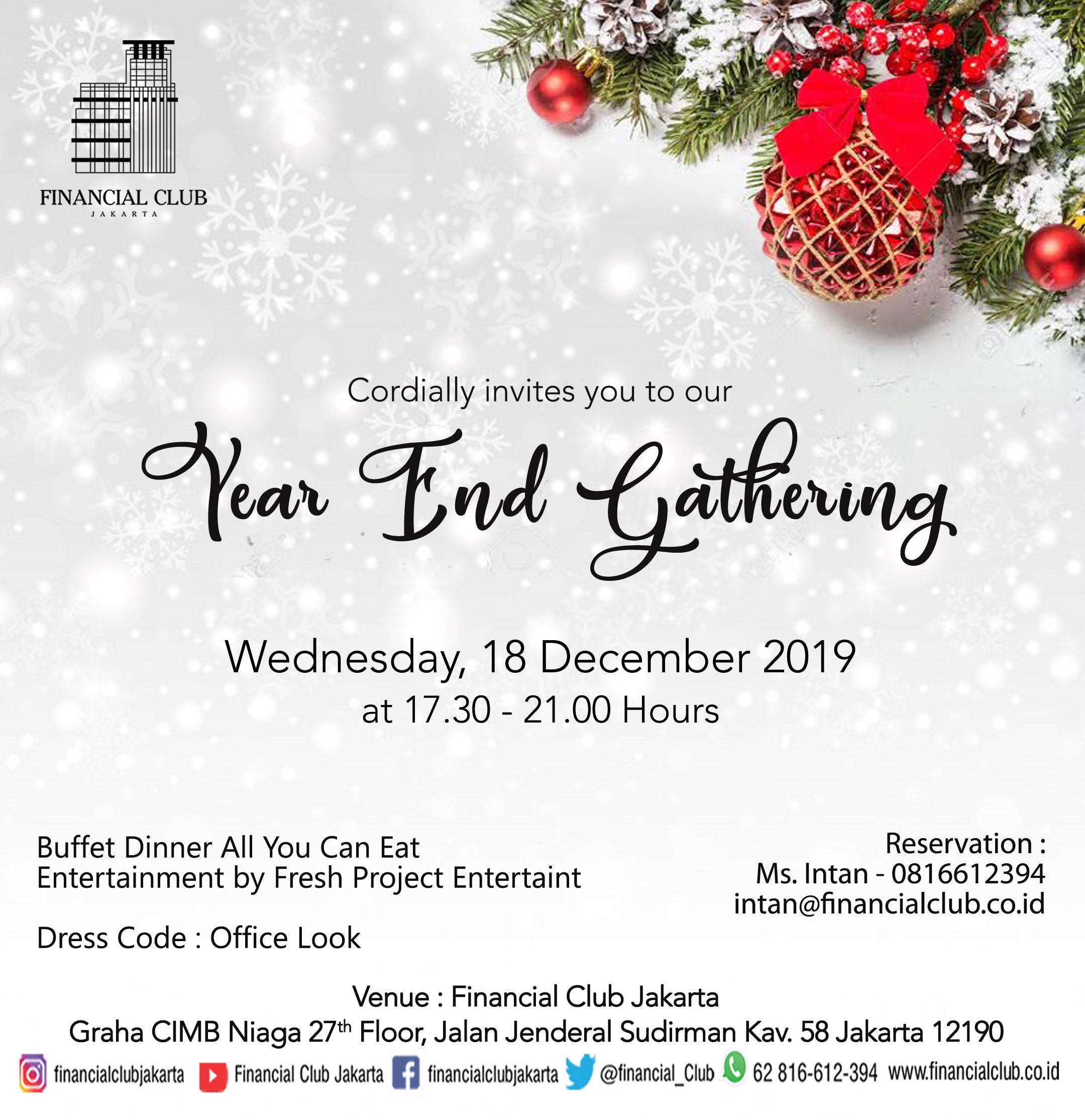 Year End Gathering 2019 at Financial Club Jakarta
