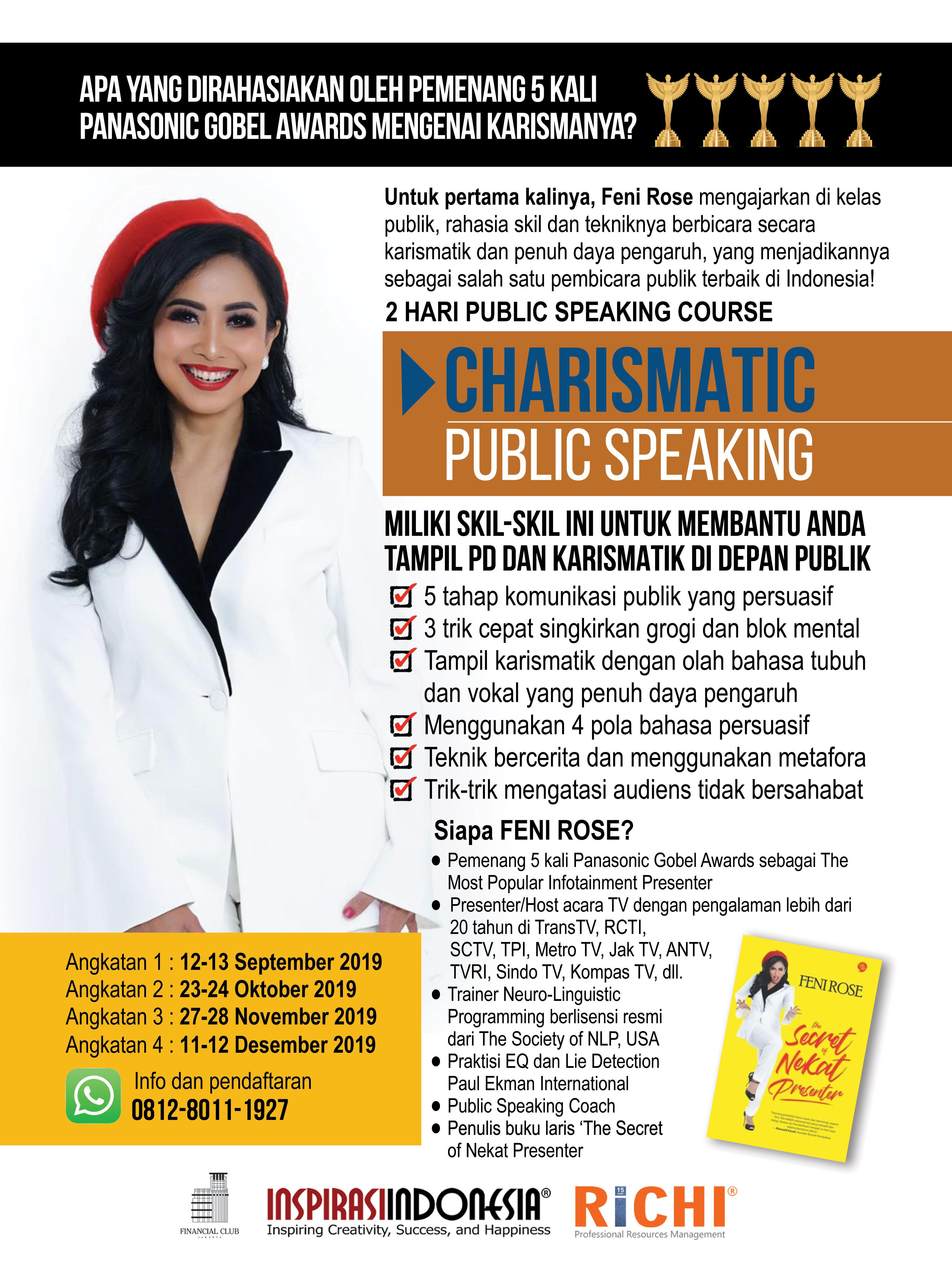 """2 Hari Public Speaking Course """" Charismatic Public Speaking""""  23-24 Oktober 2019"""