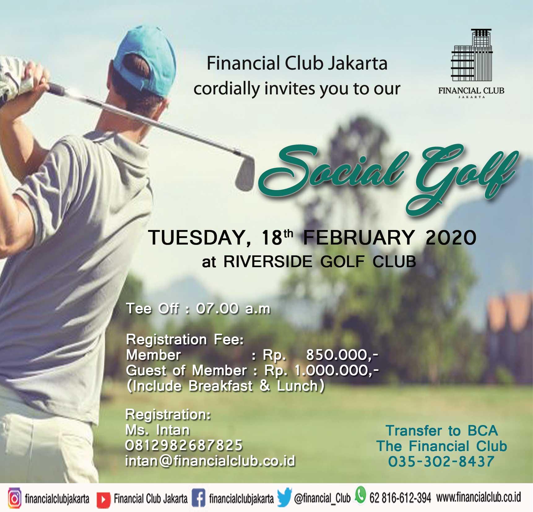 Social Golf at Riverside Golf Club, Tuesday 18th February 2020