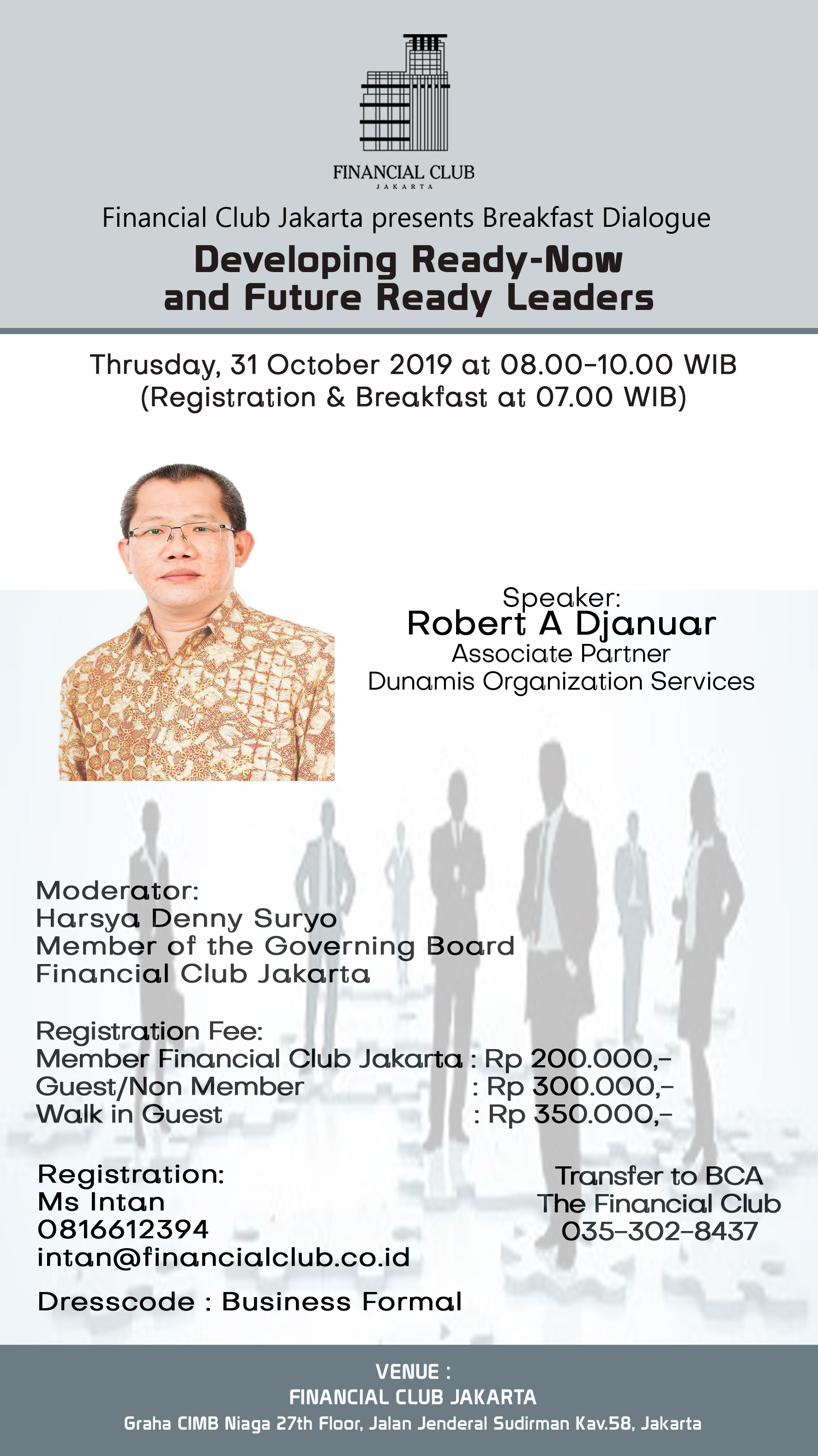 """Breakfast Dialogue""""Developing Ready-Now and Future Ready Leaders""""Thrusday,31st October 201"""